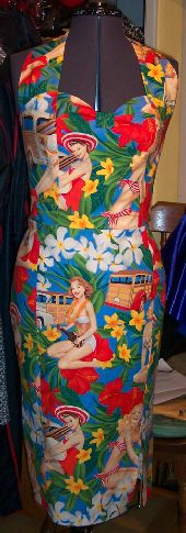 Tropical print wiggle dress