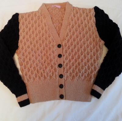 V neck 'stitchcraft' cardigan